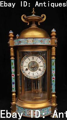 "23"" China Cloisonne Enamel Bronze Mechanical Watch Table Clock Horologium Statue"