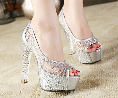 15cd0caeec0ed WEDDING SHOES WOMENS Crystal High Heel Open Toe Lace Pumps Party Platform  Sandal