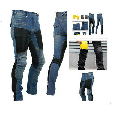Mens Motorcycle Jeans Mesh Summer Pants Denim Trousers Pads Armour protection