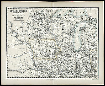 c1862 ANTIQUE XRARE 19thC MAP US NORTH AMERICA, NORTH CENTRAL SECTION, Fullarton