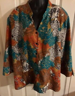 Silkland Jacket Top Sz 3X Womans Lined 100% Silk Orange 3/4 Th Sleeve Sexy