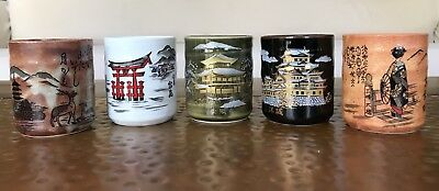Beautiful Vintage New 5 Pc Set Japanese Saki / Tea Cups Old Antique Mugs Chinese
