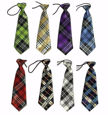 Kid Children Boy Satin Tartan Elastic Neck Tie Scotland prom school UK