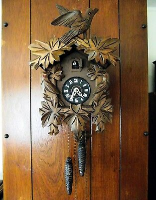 Vintage Traditional Carved Black Forest Cuckoo Clock. Forest Game Birds. G.w.o
