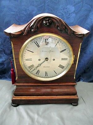 "Antique Twin Fusee Bracket Clock ""muston & Gath"" Bristol. Rosewood On Mahogany."