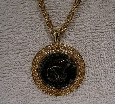 "Eisenhower Golden Colorized Dollar Coin -  26"" Necklace"