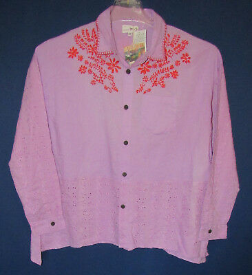 Happy Trade Happy Ethnic Trade India Peasant Eyelet Embroidered Women's Top