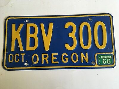 1966 Oregon License Plate NATURAL Sticker VERY GOOD Glossy NICE!! Low $3.99 Ship