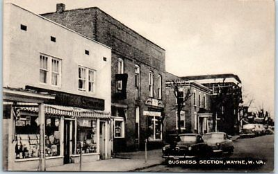 "Wayne, West Virginia Postcard ""BUSINESS SECTION"" Downtown Street Scene c1940s"