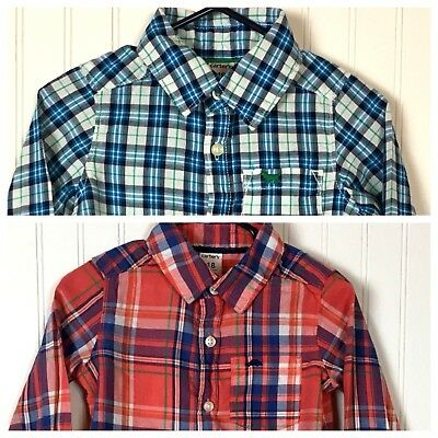 Carters Baby Boy 18 Months Plaid Button Up Shirts/Set Of 2/ Long Sleeve Cotton