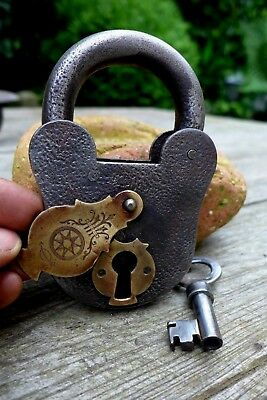 Antique Padlock with Brass Decorative Cover with one working key collector 27-17