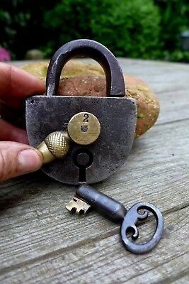 Antique Padlock with one key working order Made in Germany collector brass 27-10
