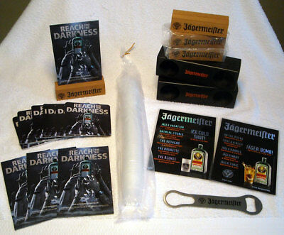 JAGERMEISTER 76 Pc Party Pack Lot Shots Speakers Menu Cards Coasters Opener NEW