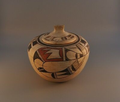 Old Hopi Indian Lidded Pot - Polychrome - Circle of 7 Small Holes in Pot Bottom
