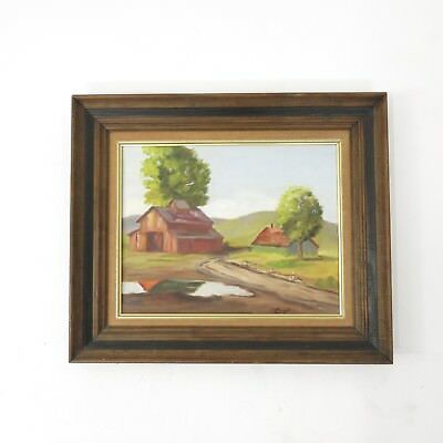 Vintage Rustic Wood Frame Red Barn Country Landscape Signed Oil Painting