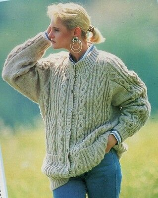 c26ecf32533db Ladies CARDIGAN Knitting Pattern 8 Ply Double Knittin Copy Cables Raglan  Sleeves