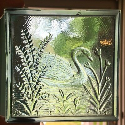 Antique ADDISON? Aqua GLASS TILE PANE SWAN In RIVER With CATAILS And PLANTS
