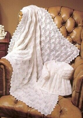 Vintage Baby knitting pattern copy in 4 ply  Beautiful SHAWL & Dress