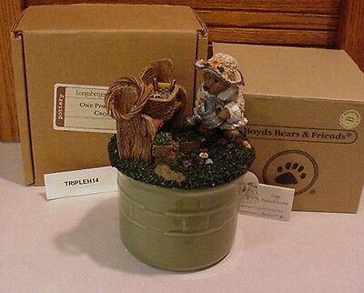Longaberger Basket Sage Usa Pottery Pint Crock W/ Boyds Bears Decorative Lid Mib