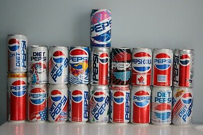 Pepsi Cans 80's & 90's Lot of 19 Pepsi Collectibles Rare cans Pepsi Collection