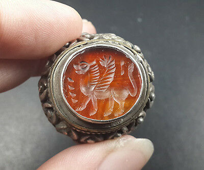 Beauteous Red Stone Agate Intaglio Lion Wing Silver Man Size 9.5 Us Ring RSB34