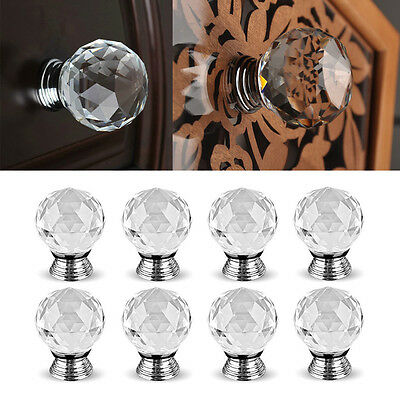 Clear Crystal Glass Door Knobs Drawer for Cabinet Furniture Handle 8/16/24/32PCS