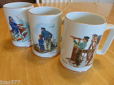 Lot of 3 Norman Rockwell Cups Mugs Trimmed in 24 Karat Gold