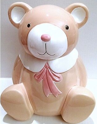 Bear Cookie Jar with Pink Scarf and White Collar