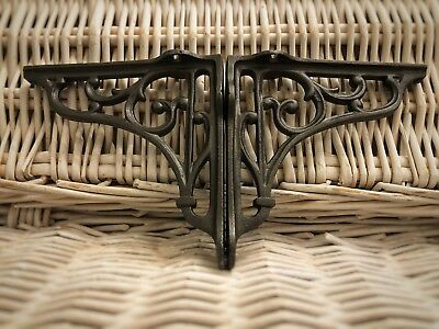"Pair of Cast Iron old English vintage Brackets Book Shelf Sink Support 6""by 7"""