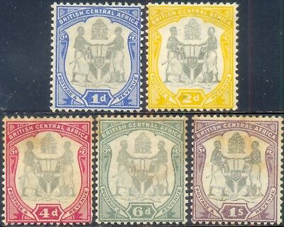 British Central Africa 1897, Set of 5 Stamps, Coat of Arms, SG 43/7, LH/H