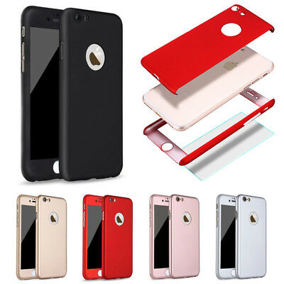 360° Full Hybrid Tempered Glass + Acrylic Hard Case Cover For iPhone 8 Plus X 6s
