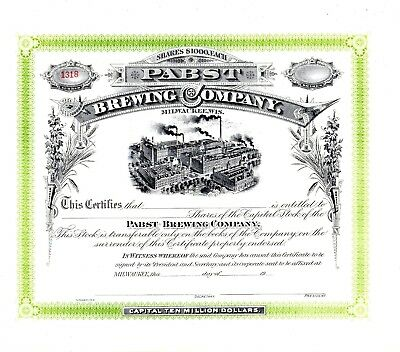 Pabst Brewing Company of Milwaukee, Wisconsin 19??s unissued Stock Certificate