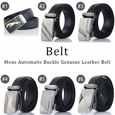 Men's Genuine Leather  Fit Automatic Buckle Ratchet Golf Dress Belt USA