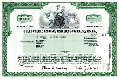 Tootsie Roll Industries, Incorporated of Virginia 1999 Stock Certificate - candy
