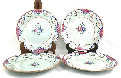 Antique 18th C. Chinese Export Plates Hand Painted Floral Set of 4 Famille Rose