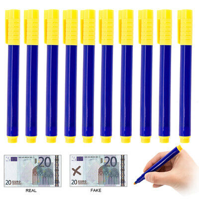 10PC Bank Note Checker Money Tester Pens Counterfeit Forged Fake Detector Marker