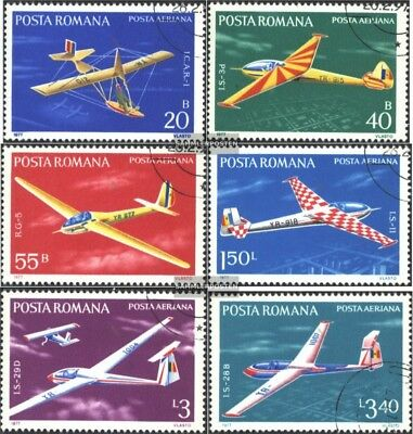 Romania 3411-3416 (complete issue) used 1977 Gliders
