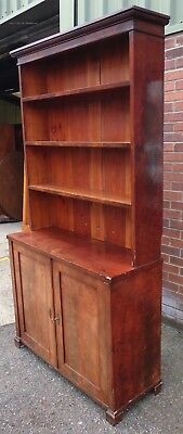 Victorian antique Cuban flame mahogany large library bookcase cabinet & key