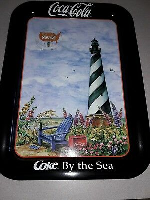 1998 Coca-Cola Serving Tray Jeanne Mack Coke By the Sea Cape Hatteras Lighthouse