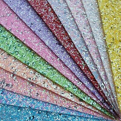 Sequin Chunky Glitter Fabric A4 Or A5 Sheets Faux Leather For Bows & Crafts