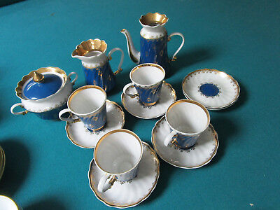 Korosten Porcelain Kiev Ukranie Tea Set 13 Pcs Blue And Gold