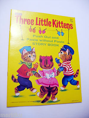 Vintage 1977 Rare Three Little Kittens Rand Mcnally  Sticker coloring book
