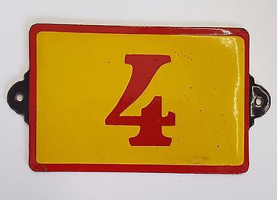 Antique Vintage French Enamel Porcelain Door House Gate Number Sign Plate 4