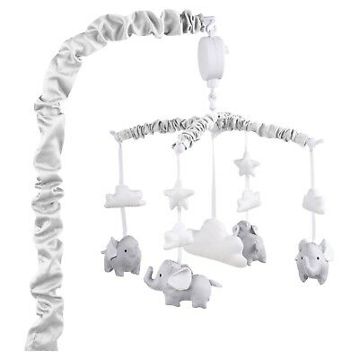 Grey Musical Mobile With Elephants, Clouds and Stars by The Peanut Shell NEW