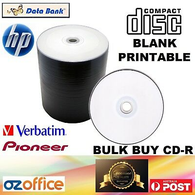BULK BUY Blank CD Discs Inkjet Printable HP Databank Pioneer CD-R 52X 700MB