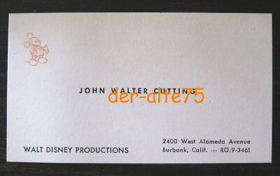 Vtg Walt Disney Prod Business Card~Former Animator & Head Foreign Dept.-3491
