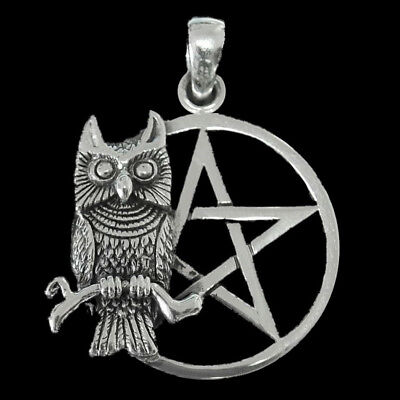SITTING OWL PENTAGRAM PENDANT Sterling Silver Wicca Pagan Witch BY PETER STONE