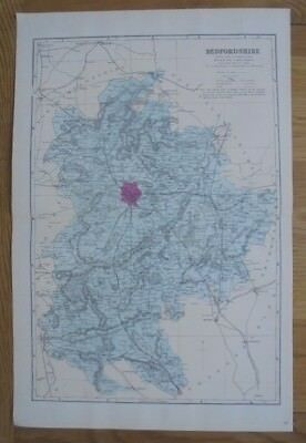 ANTIQUE 1884 Original Large Scale map of Bedfordshire - G.W. Bacon