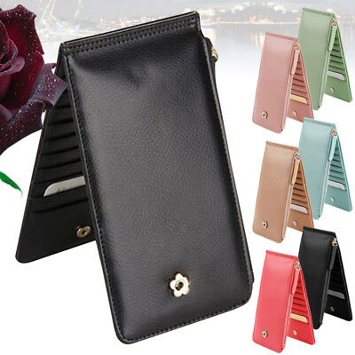 Unisex Men Women PU Leather Long Credit Card Wallet Holder Zipper Purse Case New