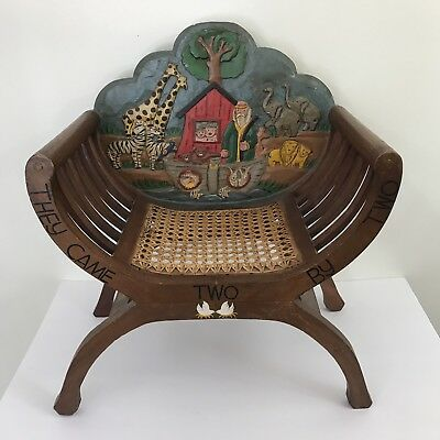 Childs Chair Wood Carved Painted X Frame Cain Seat Vintage Noahs Ark
